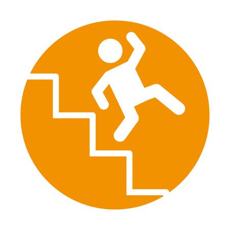 Accident on ladder insurance icon vector illustration design Illustration
