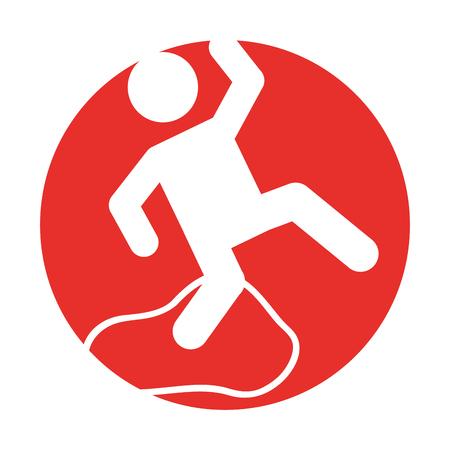 Ongeval op het gladde ontwerp van de vloer vectorillustratie Stock Illustratie