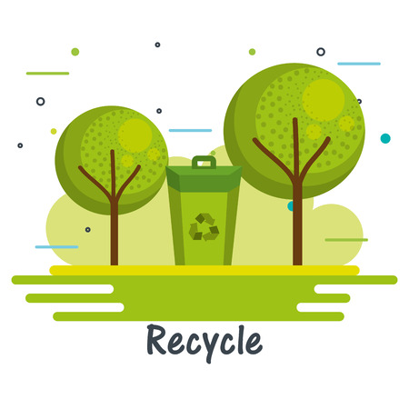 Green trash can and trees with recycle sign over white background vector illustration Illustration