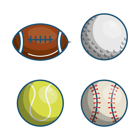 Colorful sport balls over white background vector illustration