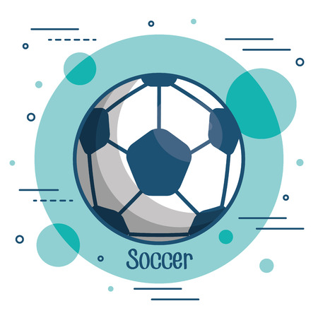 Soccer ball icon over teal and white background vector illustration