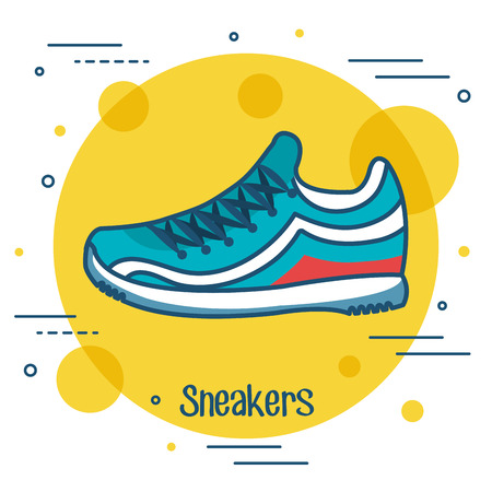 Sneakers icon over yellow and white background vector illustration