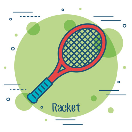 soccer goal: Colorful racket icon over green and white background vector illustration
