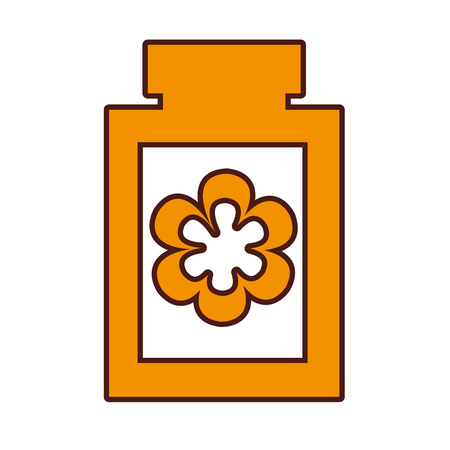 bottle with flower spa icon vector illustration design
