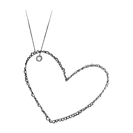 beautiful heart drawing hanging vector illustration design
