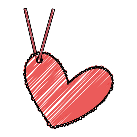 beautiful heart drawing hanging vector illustration design