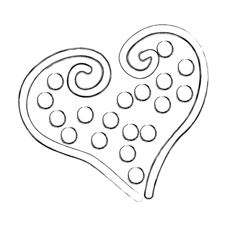 beautiful heart dotted drawing icon vector illustration design