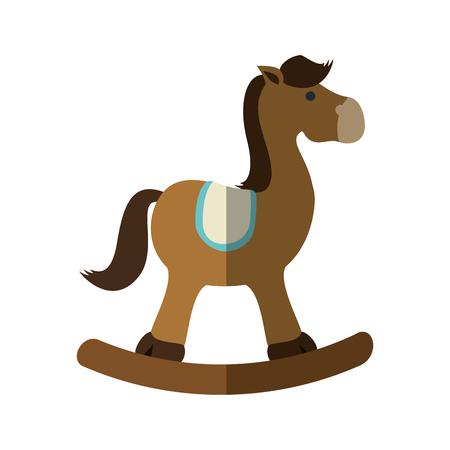 Paard schommel speelgoed pictogram vector illustratie grafisch ontwerp Stock Illustratie