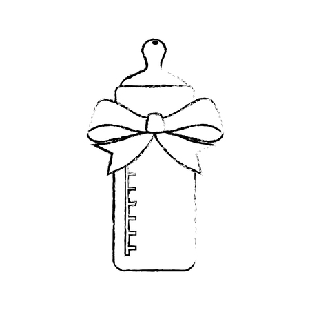 child care: Baby bottle bow cartoon icon vector illustration graphic design