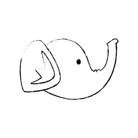 elephant head cartoon icon vector illustration graphic design
