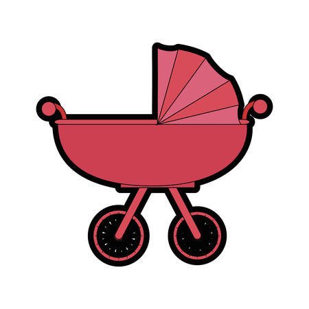 baby and mother: Car for baby cartoon icon vector illustration graphic design