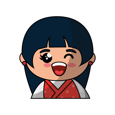 Cute japanese girl cartoon icon vector illustration graphic design