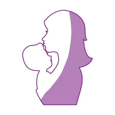 Mom with baby silhouette icon vector illustration graphic design Illustration