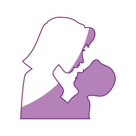 baby and mother: Mom with baby silhouette icon vector illustration graphic design Illustration