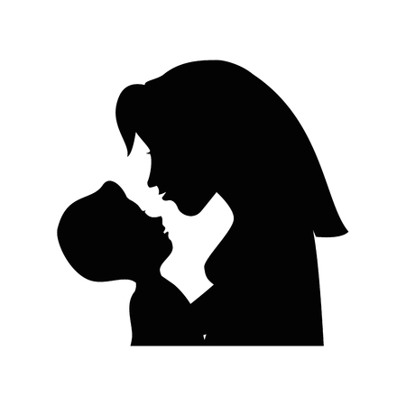 child care: Mom with baby silhouette icon vector illustration graphic design Illustration