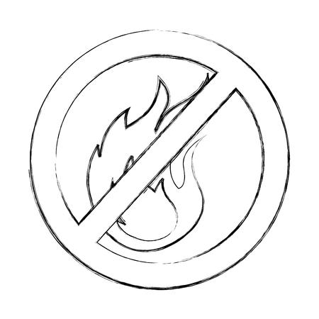 denied fire flame signal icon vector illustration design