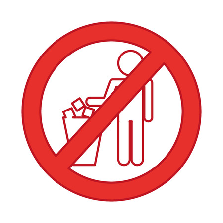 denied To deposit garbage sign vector illustration design