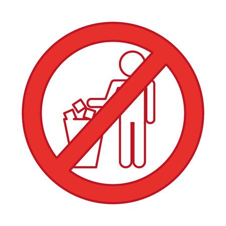 denied To deposit garbage sign vector illustration design