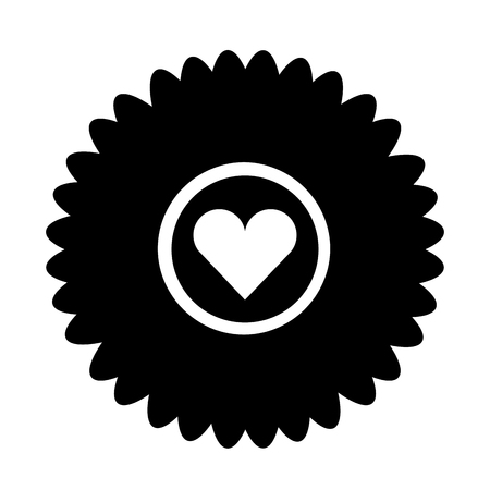 cute flower with heart isolated icon vector illustration design