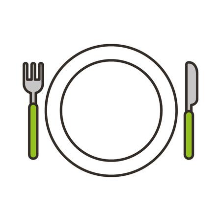 Schotel met vork en mes vectorillustratieontwerp Stock Illustratie
