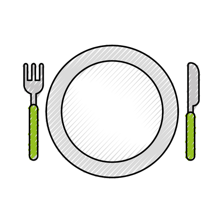 schotel met vork en mes vector illustratieontwerp