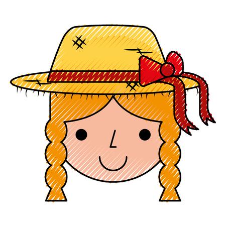 beautiful girl farmer icon vector illustration design