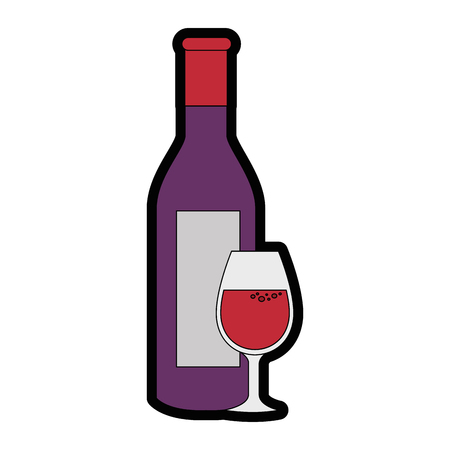 wine cup bottle vector illustration graphic design icon