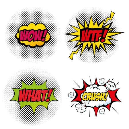 Set of comic like pop artsigns over white background vector illustration