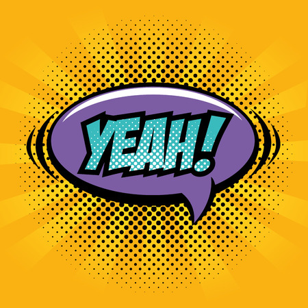 Comic like yeah pop art sign over yellow striped background vector illustration Illustration