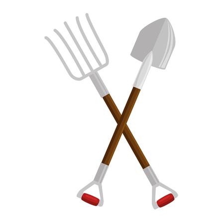 tuinieren schop en vork gekruist pictogram over witte achtergrond vectorillustratie