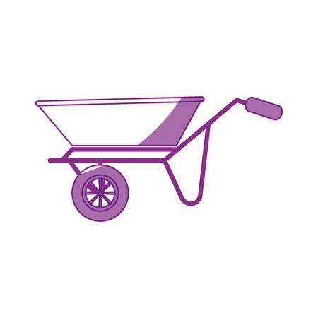 kruiwagen pictogram over witte achtergrond vectorillustratie Stock Illustratie