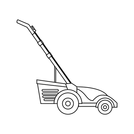 Lawn mower character vector illustration design icon