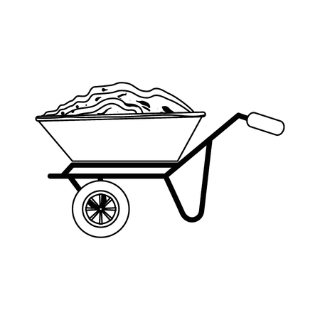 wheelbarrow icon over white background vector illustration