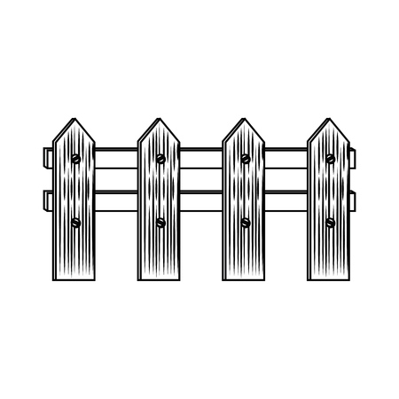 Icône de clôture en bois sur fond blanc illustration vectorielle Banque d'images - 79892239