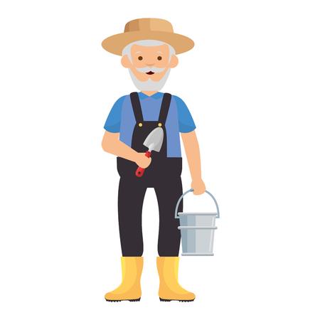 cartoon gardener old man  icon over white background vector illustration