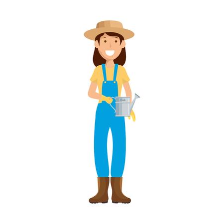 cartoon gardener woman icon over white background colorful design vector illustration