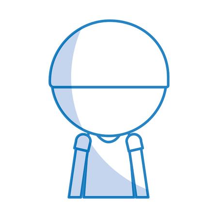 shadow faceless cute upper body blue little boy vector illustration graphic design