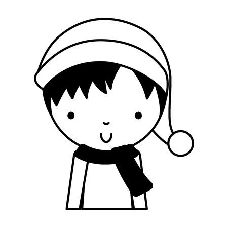 black icon cute upper body christsmas little boy vector illustration graphic design