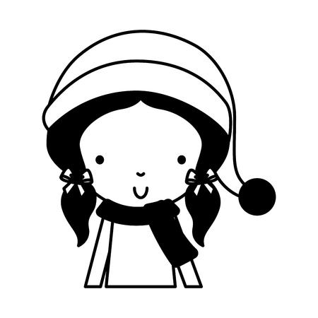 black icon christmas cute upper body little girl vector illustration graphic design Illustration