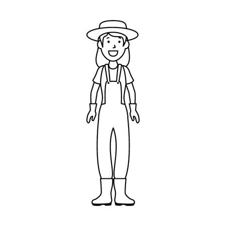 cartoon gardener woman icon over white background vector illustration