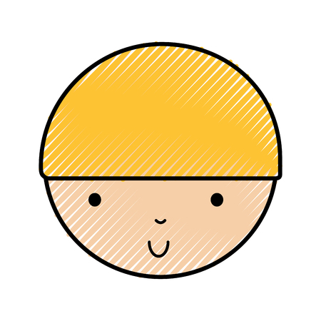 scribble cute blond little boy face vector illustration graphic design