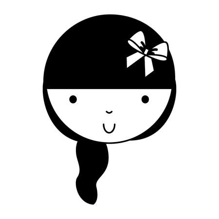 black icon cute girl face vector illustration graphic design