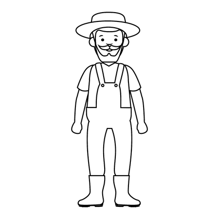 cartoon gardener old man  icon over white background vector illustration