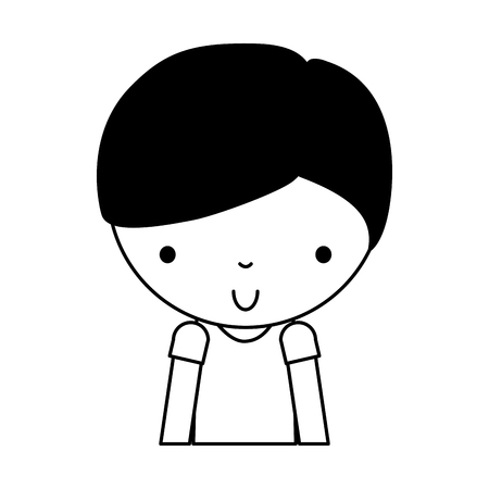 black icon cute upper body little boy cartoon vector illustration graphic design Illustration
