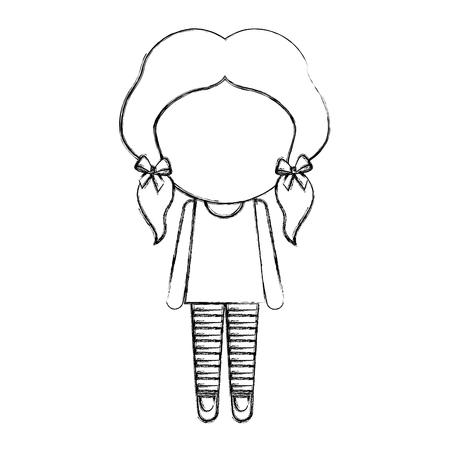 Sketch draw faceless cute little girl vector illustration graphic design