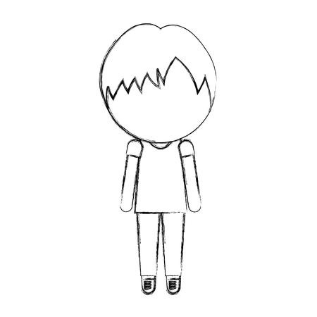 sketch draw faceless cute little boy vector illustration graphic design Illustration