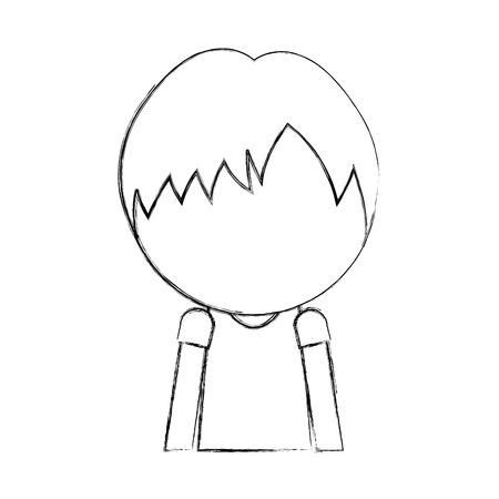 sketch draw faceless cute upper body little boy vector illustration graphic design