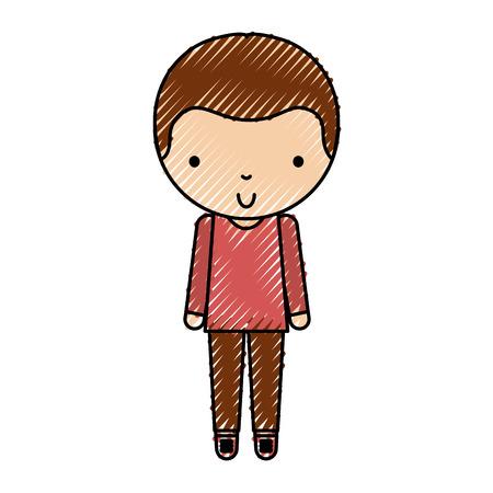 scribble cute little boy vector illustration graphic design