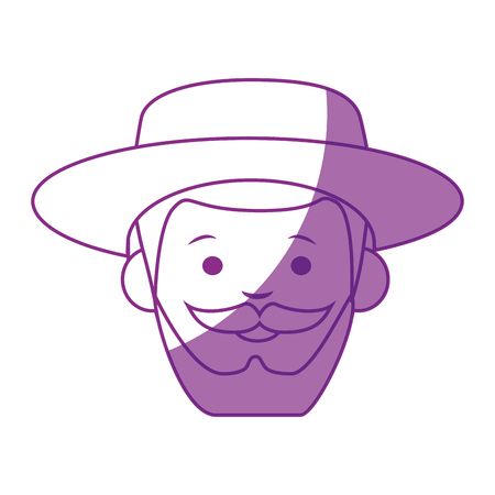 cartoon gardener old man  icon over white background vector illustration Stock Vector - 79892542
