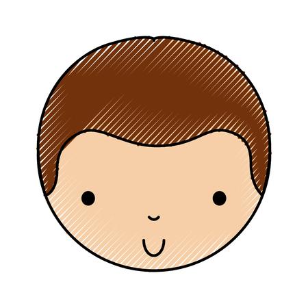 scribble cute little boy face vector illustration graphic design Illustration